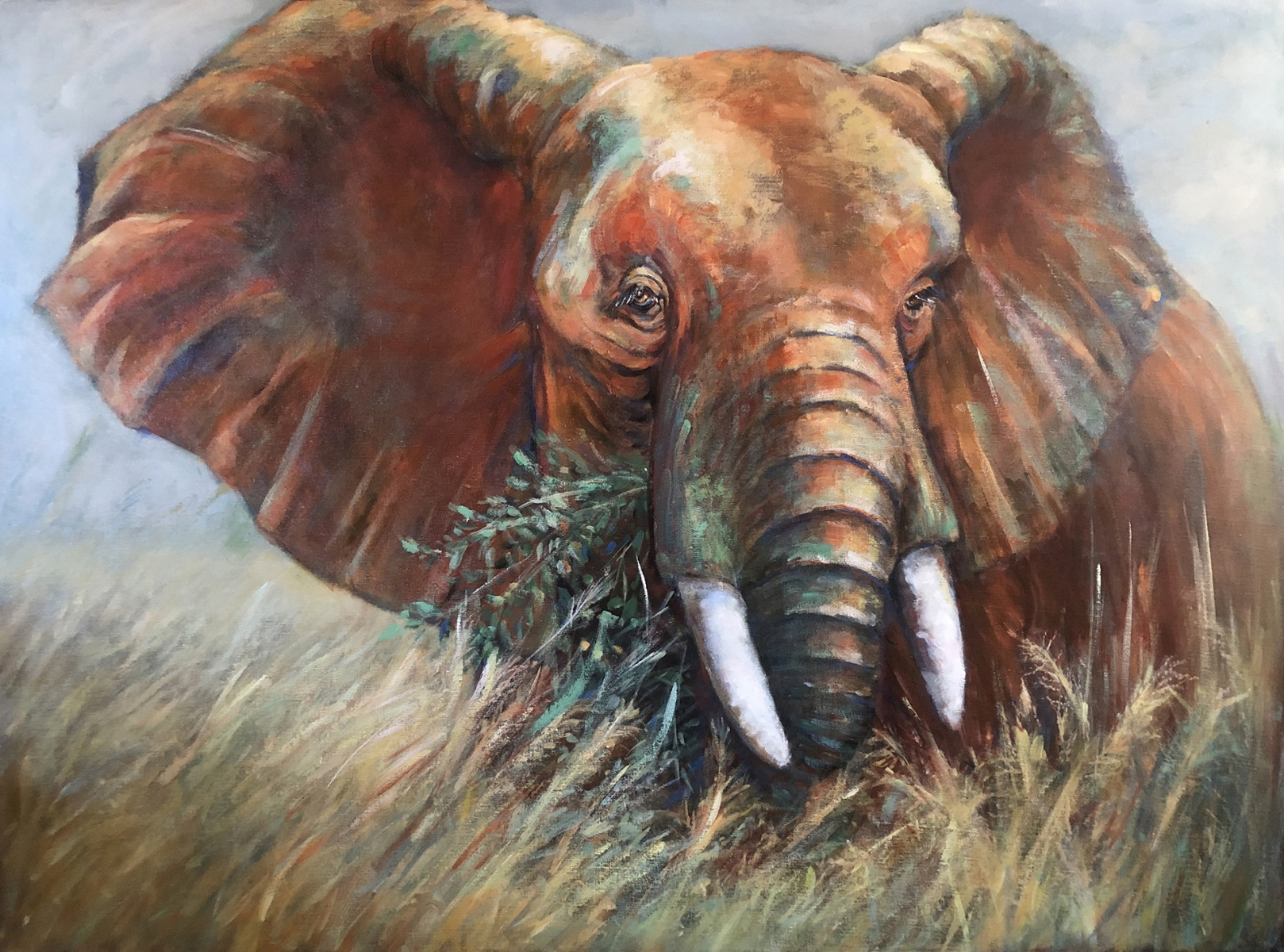 1989 Elephant -End of Nature Series II- 48x36 acrylic on canvas