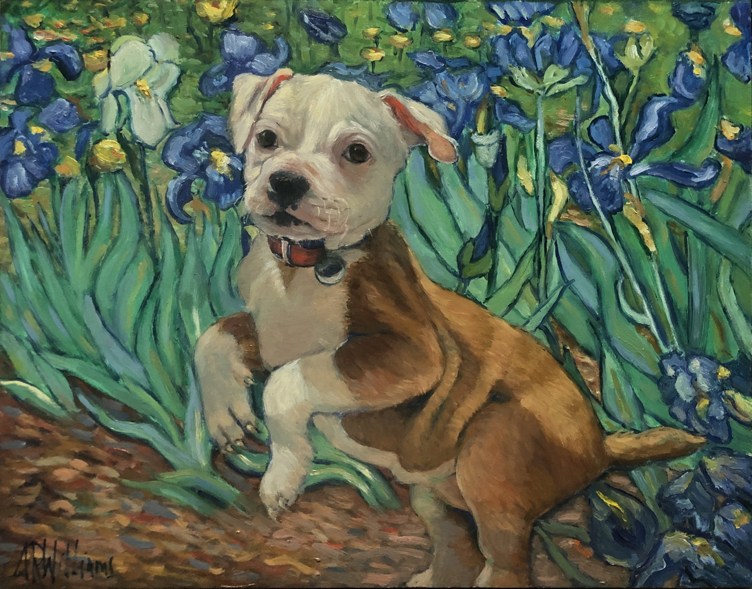 2020 Scarlet with Van Gogh's Irises 16x12 oil on panel