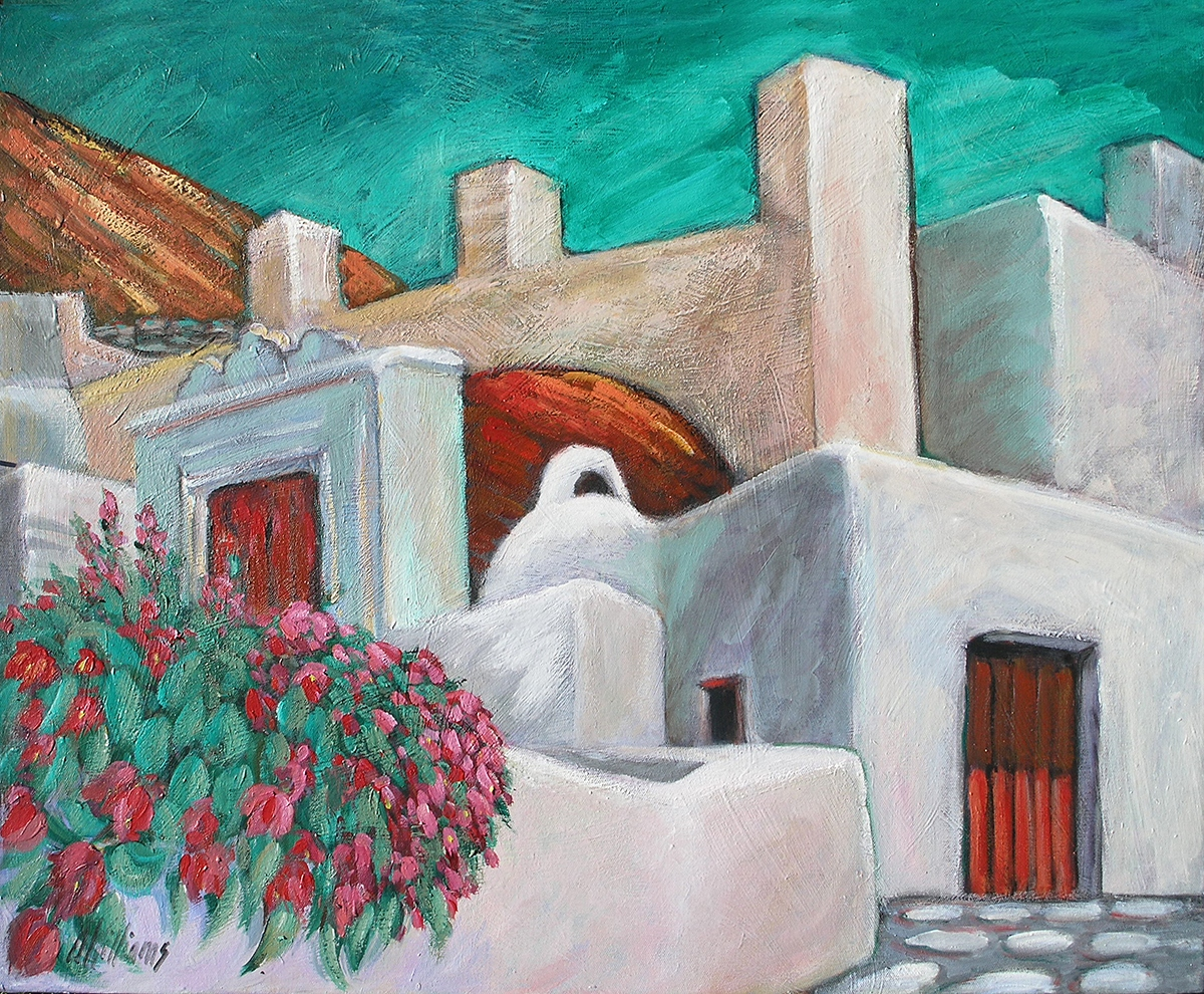 2004 Greece Street Scene 30x24 acrylic on canvas