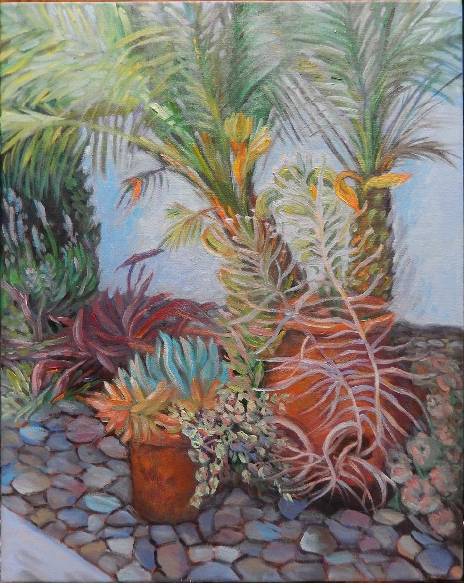 2017 Backyard Succulents 12x16 oil on canvas