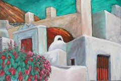 2004 Greece Street Scene 30x24 acrylic on canvas