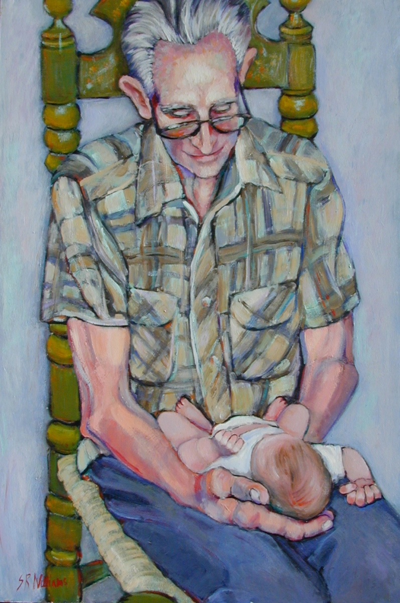 1989 Elmer with Baby Dustin 24x36 Acrylic on board