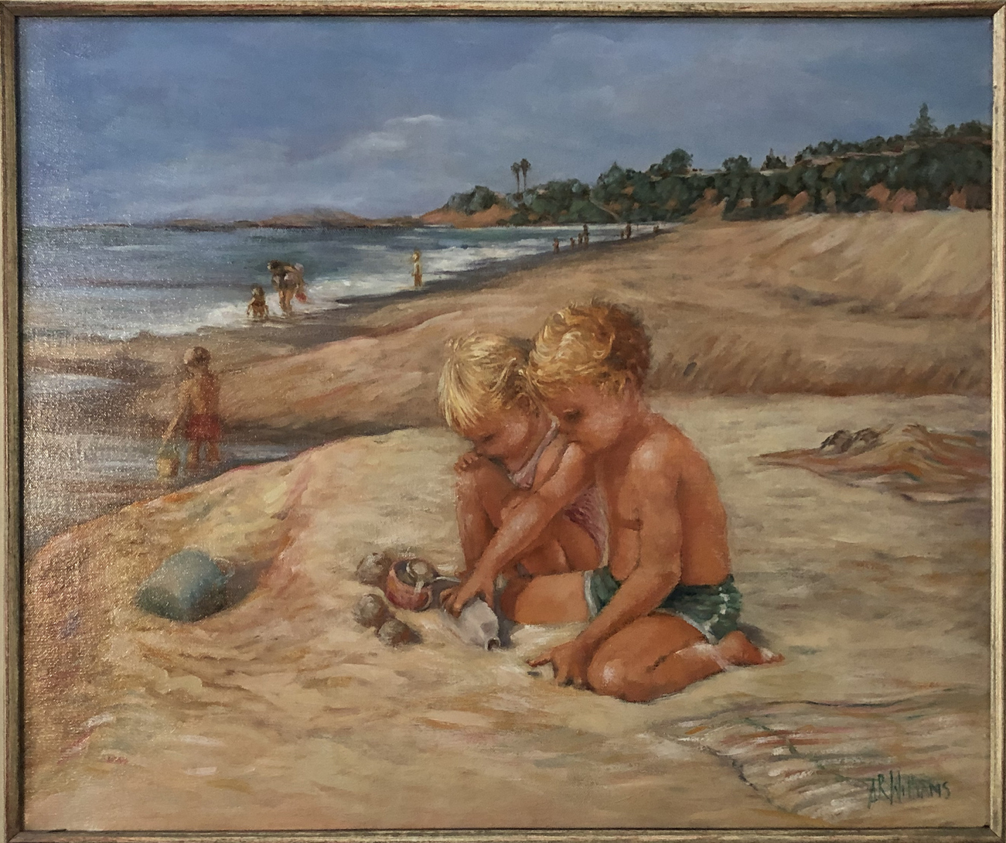 1992 Jessica, Wes and Justin at Laguna Beach 24x20 oil on canvas