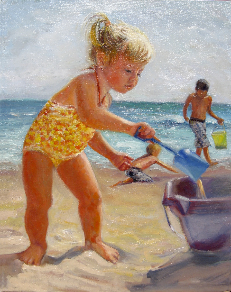 2009 Maggie at the Beach 18x24 oil-canvas