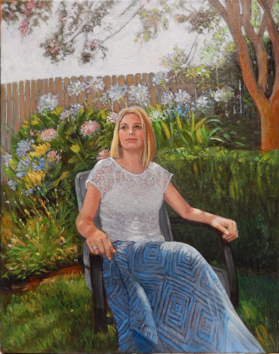 2017 Jessica in Garden 16x20 oil-canvas