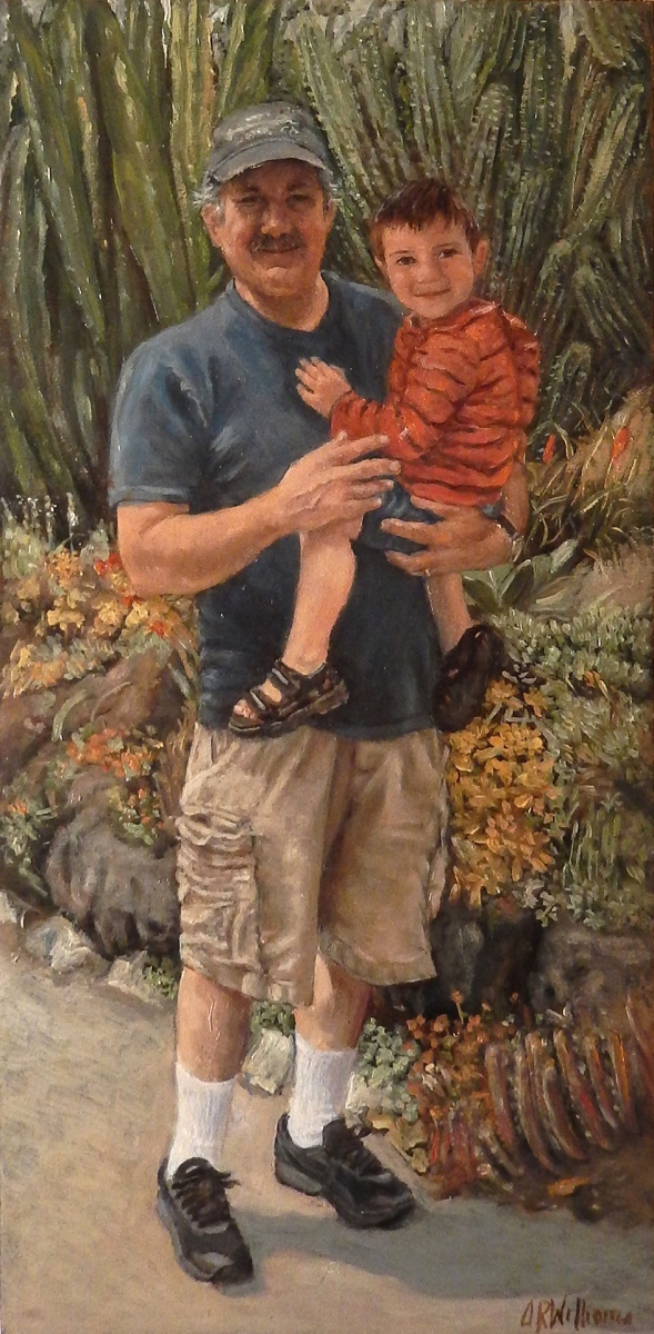 2019 Ted and Zander at Htg Gardens 12x24 oil panel