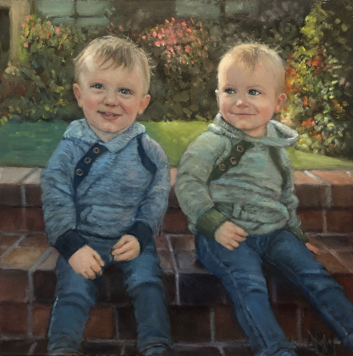 2021 Levi and Noah 12x12 oil on panel