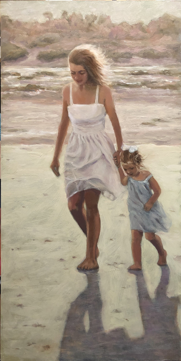 2021 Larissa and Maggie at the Beach 12x24 oil on panel
