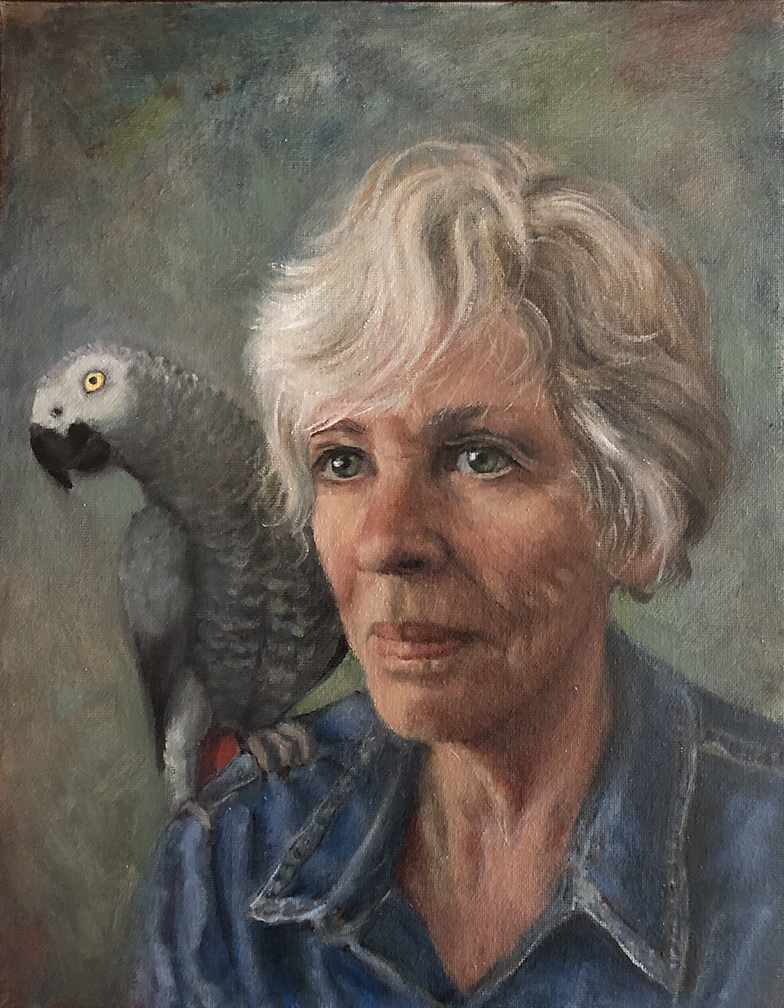 2021 Self Portrait with Jack 11x14 oil on canvas panel